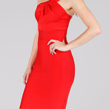 Red One Shoulder Bandage Body Con Dress