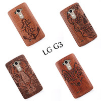 Luxury Bamboo Carving Wood Hard Back Wooden Case Cover phone Case for LG G3