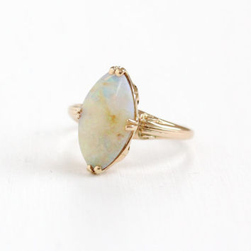 Antique 10k Rose Gold Opal Ring - Art Deco 1920s 1930s Marquise Colorful Fiery Gemstone Fine Jewelry