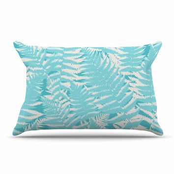 "Jacqueline Milton ""Fun Fern - Sky"" Blue Aqua Pillow Sham"