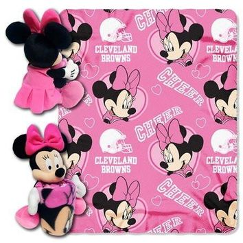 Cleveland Browns NFL Minnie Mouse with Throw Combo-By BlueTECH