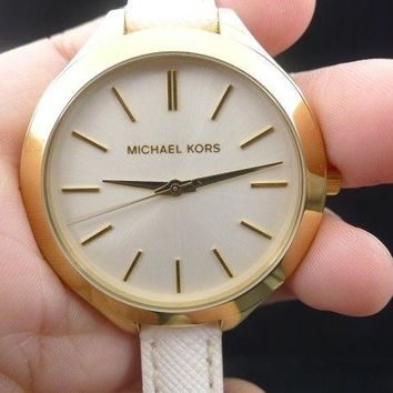 New Old Stock MICHAEL KORS Slim Runway MK2273 Leather Strap Quartz Women Watch