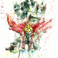 Fullmetal Alchemist Character Elric Brothers Watercolor Print
