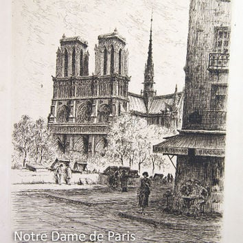 Le Petit Pont Brasseries, Notre Dame de Paris Original Etching by L E Chapel, c. 1930