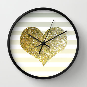 GLITTER GOLD HEART Wall Clock by colorstudio