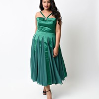 Preorder - Iconic by UV Plus Size Emerald Satin & Chiffon Dovima Swing Dress