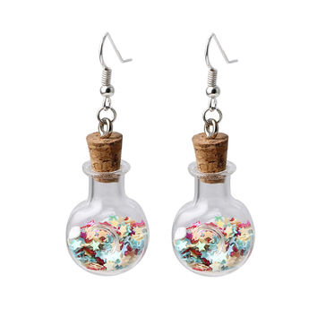 Handmade Wooden Cap Fashion Glass Wishing Bottle Drop Earrings for Women