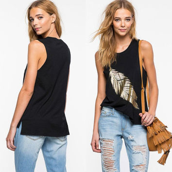fashion womens casual feather tank top loose comfortable vest gift 86