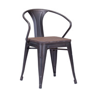Set Of 2 Helix Dining Chairs Rusty+Elm Wood Top