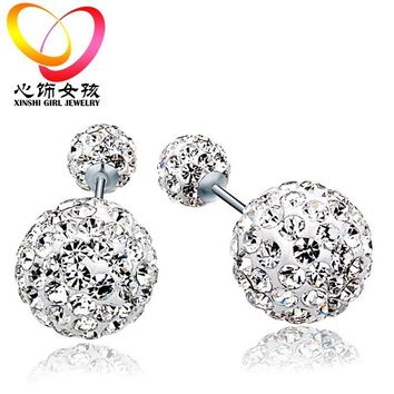 Fashion Womens 925 sterling Silver Double Crystal Ball Ear Stud 1809dc64d6e4