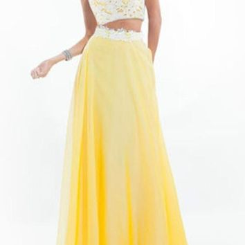 Yellow Patchwork Lace Backless Sleeveless Tulle Tutu Bridesmaid Party Chiffon Maxi Dress