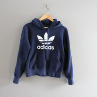 Made in Canada Adidas Sweatshirt Dark Blue Fleece Lining Cotton Adidas Trefoil Hoodie Adidas Pullover Sweater Vintage 90s Size S #T177A