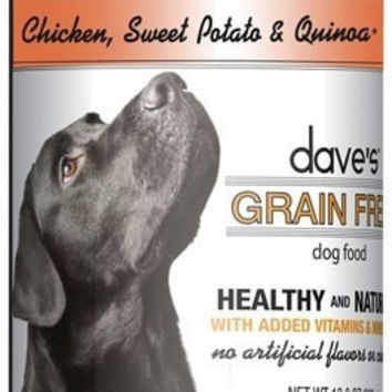 DAVES PET FOOD DOG CANS - DAVE'S GRAIN FREE CHICKEN QUINOA DOG - 12/13OZ - DAVE'S PET FOOD - UPC: 685038112910 - DEPT: OTHER PET FOODS