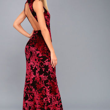 Dariana Black and Red Velvet Floral Print Backless Maxi Dress