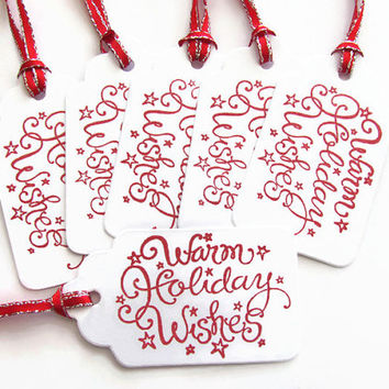 Warm Holiday Wishes,Gift Tags, set of 5, Christmas Tags, Favor Treat Tags