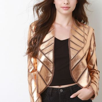 Metallic Geometrical Panel Blazer