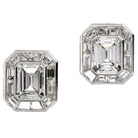 Glamorous 9.58 Carat Total Emerald Cut Diamond Earrings