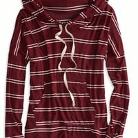 AEO Women's Don't Ask Why Striped Hoodie (Burgundy)
