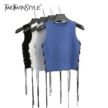TWOTWINSTYLE Knitting Waistcoat For Women O Neck Sleeveless Lace Up Ribbons Casual Vest 2018 Spring Fashion Korean Clothing