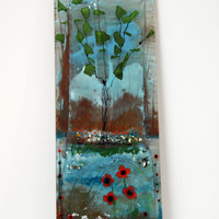 Fused glass Painting Wall Hanging , Poppies landscape  Wall Hanging