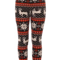 Girl's Reindeer Snowflake Fair Isle Pattern Printed Leggings