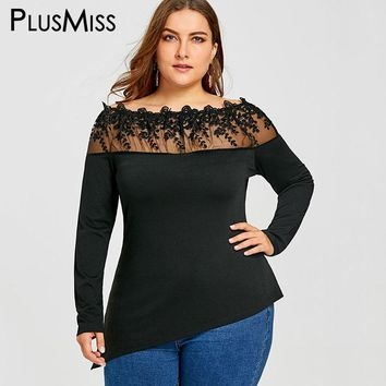 PlusMiss Plus Size 5XL Sheer Black Lace Crochet Embroidered Tops Women Clothing Off the Shoulder Embroidery Mesh Blouse Shirt