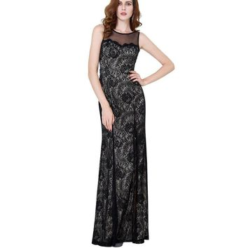 Vintage Lace Mother of the Bride Dresses Black High Slit Long Formal Dress for Wedding