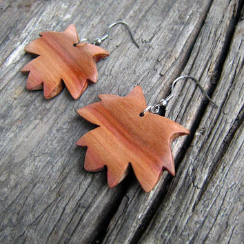 Maple leaf earrings, earrings wood, maple wood, maple earrings, leaf earrings, maple leafs, jewelry, gift for her, natural, boho