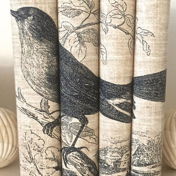 Decorative books - Book art - Custom book covers - Neutral books - Custom book jackets - Bird Book - Book Cover - Bookcase Decor - Bookshelf