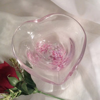 Valentine Gift - Pink Heart Shaped Bowl.  Hand Blown Glass Art Heart Bowl. Glass Trinket Dish / Ring Bowl.