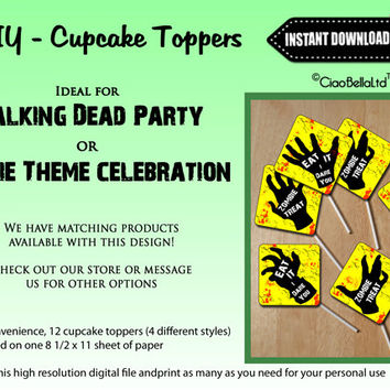 The Walking Dead Zombie Hands Appetizer Toppers - INSTANT DIGITAL DOWNLOAD