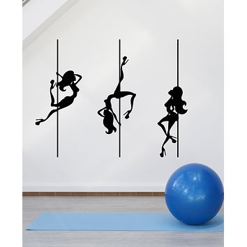 Vinyl Wall Decal Pool Dance Stripper Naked Girls Silhouette Stickers (3348ig)