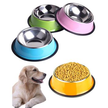 200ML 260ML 500ML Stainless Steel  Dog Bowl  Pet Feeding Bowls for Cats or Drinking Fountain Dog Goods for Pets  Dogs