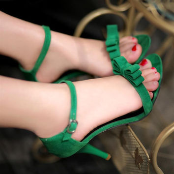 Contracted Joker Peep-Toe Bowknot Sandals