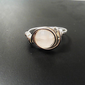 Sterling Silver Ring Rose Quartz Wrapped Wire Wrap Artisan Made Custom Order Womens Girls Bridesmaid Promise Wedding Anniversary Love Gift