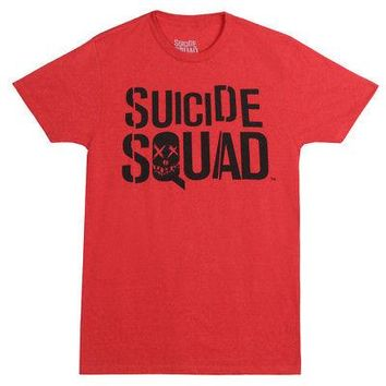 Suicide Squad Movie Title Logo DC Comics Licensed Adult Unisex T-Shirt - Red