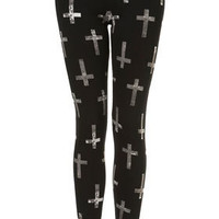 Cross Print Leggings - Trousers & Leggings  - Clothing