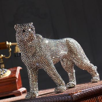 creative handmade diamond-encrusted modern ceramic leopard figurine ceramic statue for home decoration ceramic animal sculpture