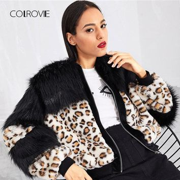 COLROVIE Leopard Colorblock Party Faux Fur Coat Zip Up Casual Winter Coats Streetwear Female Coat Fashion Lady Outwears