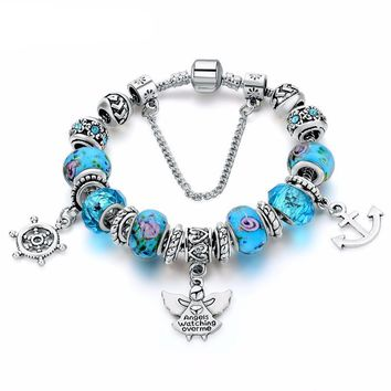 New Design Silver Color Blue Crystal Bracelet for Women