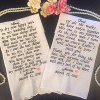 Father of the Bride and Mother of the Bride Wedding Handkerchief  gift set,personalized  wedding hankerchiefs- Wedding Keepsakes