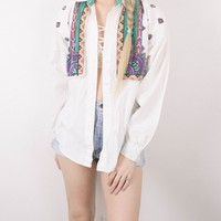 Vintage Aztec Tribal White Button Up Shirt