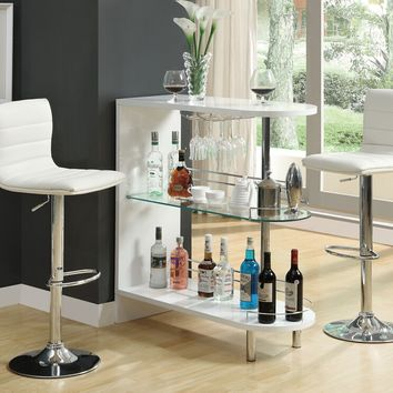 Home bar unit modern style white high gloss finish bar unit with tempered glass shelves and chrome accents
