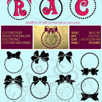 16 Bow Digital Monogram Frames - Vector Decal Clipart - SVG, eps, DXF, PNG for cards, transfers, cutting machines cv-098