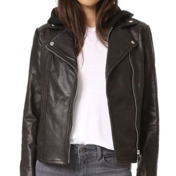 Yoana Pebbled Leather Jacket