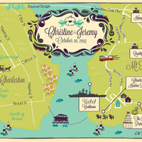 100 4x6 Postcard Prints - Custom Wedding Map -  Save the Date - Sample for Charleston (same design but choose your city/location)