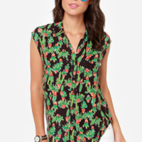 Obey Peyote Gardens Black Cactus Print Top