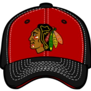 Chicago Blackhawks Staple Black/Red Adjustable Hat By Zephyr