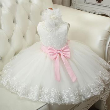 Girls Party Dresses Toddler Baby Girl Princess Big bow tutu Dress Lace Princess Children formal Dress For Wedding