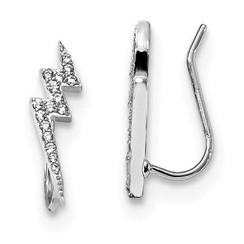 Sterling Silver CZ Lightning Bolt Ear Climber Earrings